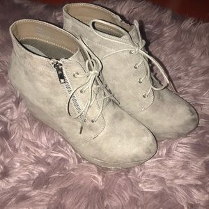 Just Fab suede wedge booties